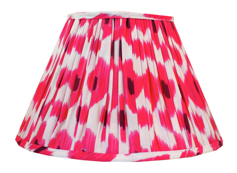 Dark Pink Cotton Ikat Gathered Lamp Shade
