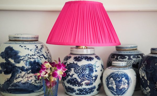 Bright pink silk dupion lamp shade