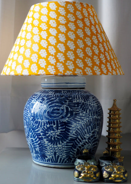 Evergreen Peony ginger jar lamp base with yellow woodblock shade