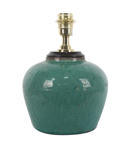 Emerald green glaze ginger jar with wood cover