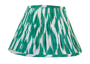 Green Cotton Ikat Gathered Lamp Shade