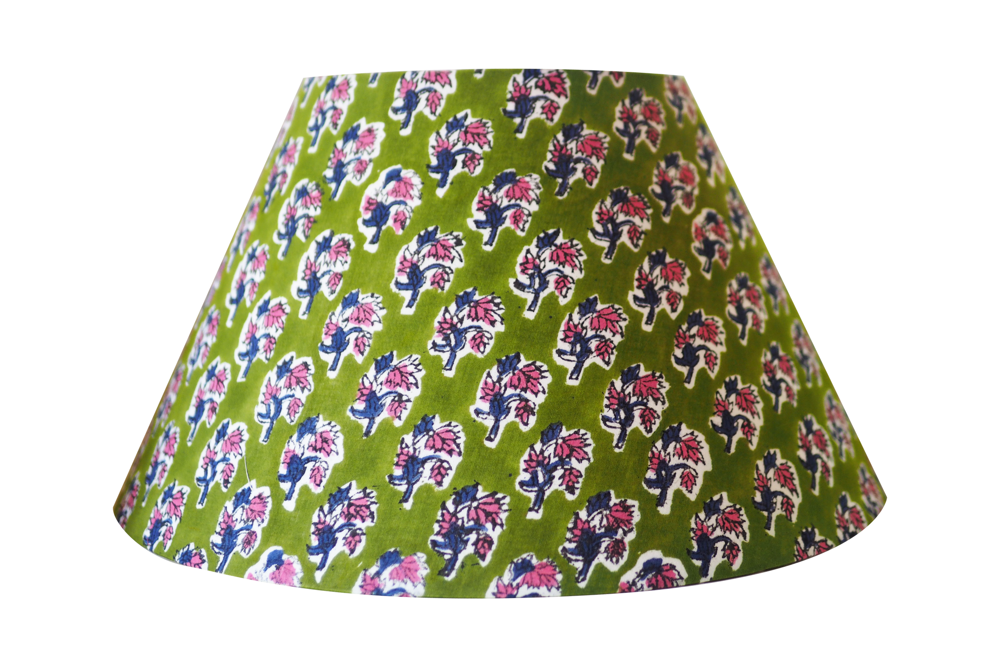 green wood block cotton lamp shade