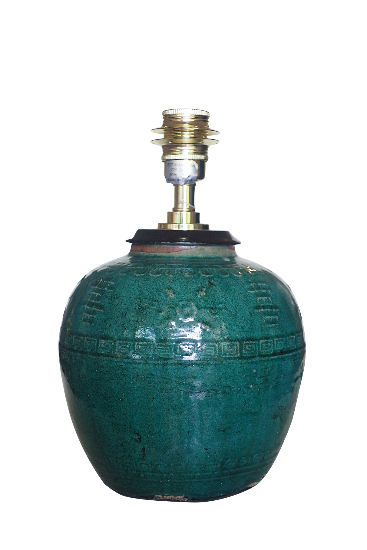 Hunan Jade Green ginger jar lamp with floral relief pattern