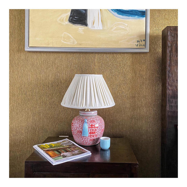 coral double happiness ginger jar base and buttermilk linen lamp shade