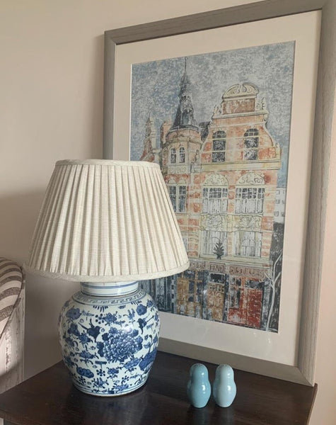 Magpie & Lotus ginger jar base and linen lamp shade