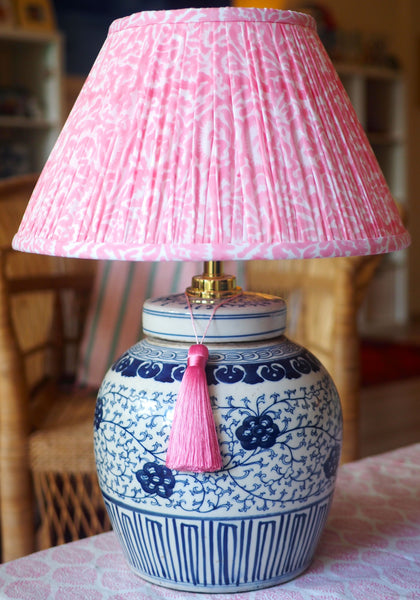 Pink Orchid lamp shade with ruyi base