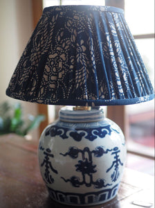Shou Base & Chinese Indigo Lamp Shade