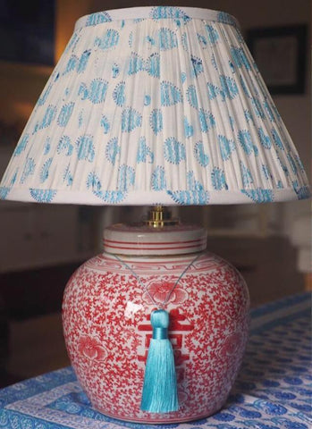 coral double happiness base with sky paisley blockprint lamp shade
