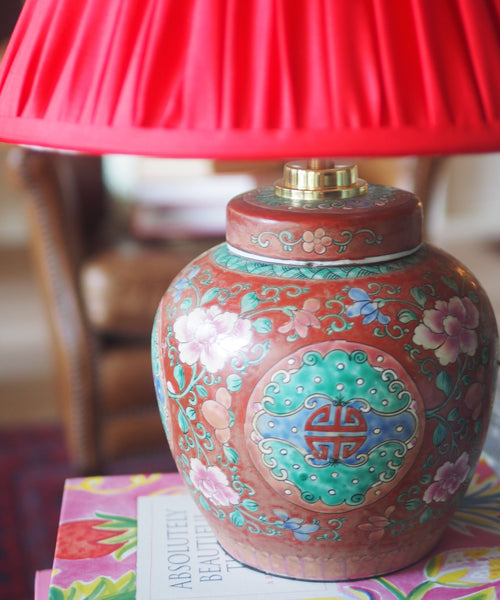 Red Famille Rose Ginger Jar Table Lamp Base