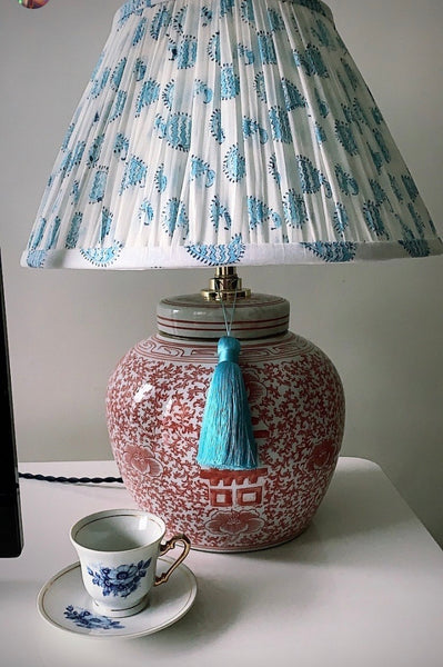 plsky paisley woodblock shade and coral base