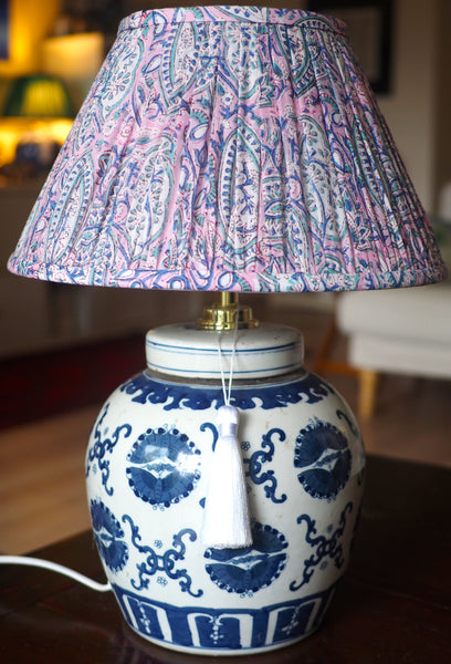 Butterfly Pairs base with Lilac Paisley blockprint lamp shade
