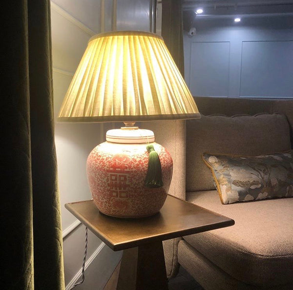 coral double happiness base with buttermilk linen shade