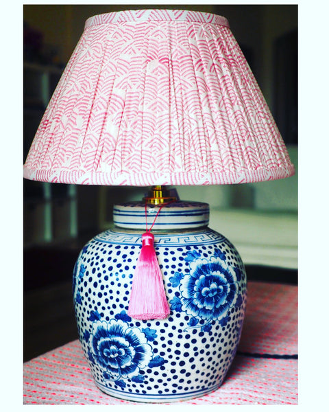 peony polkadot ginger jar lamp base with rose wave woodblock shade