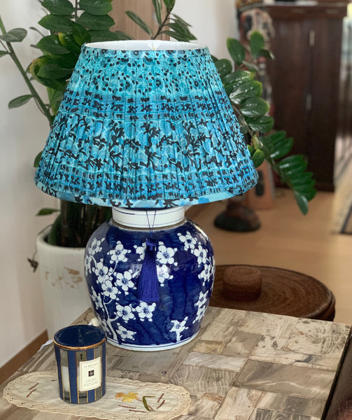 kulti silk sari shade and plum ginger jar lamp base