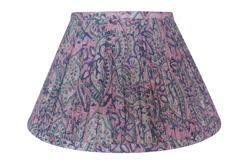 Lilac Paisley Block-Print Cotton Gathered Lamp Shade