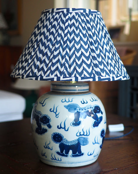 Lions vintage ginger jar lamp base with navy chevron shade