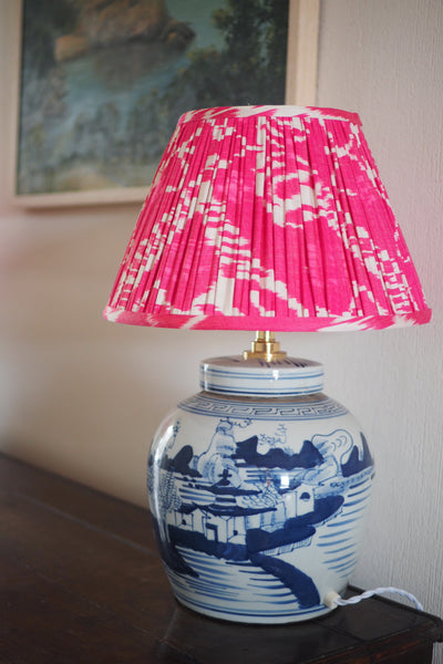 Mountain village ginger jar lamp base with pink silk ikat shade