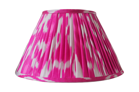 Fuschia Pink Silk Ikat Gathered Artisan Lamp Shade