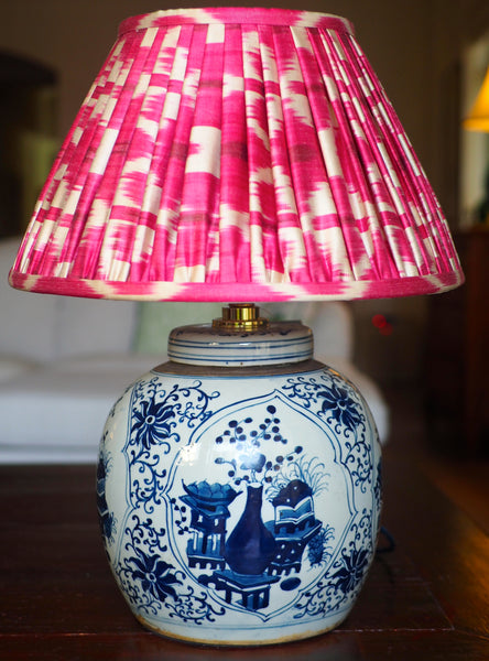 Buddha's rose and vase ginger jar base with raspberry silk ikat lamp shade