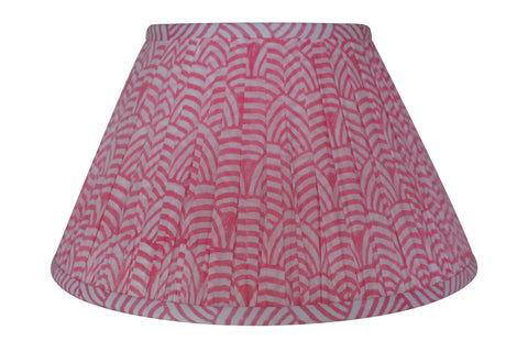 Rose Wave Block-Print Cotton Gathered Lamp Shade