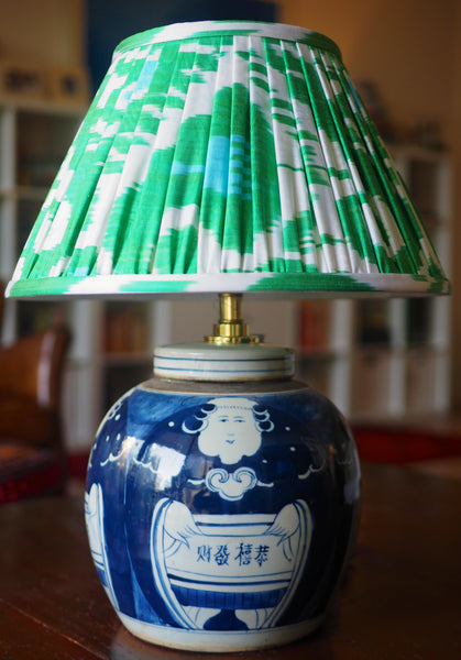 kung hei fat choi ginger jar base with spring silk ikat lamp shade