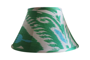 Spring green and blue silk ikat lamp shade
