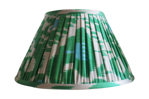Spring blue and green pleated gathered silk lamp shade