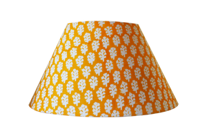 yellow block print cotton lampshade