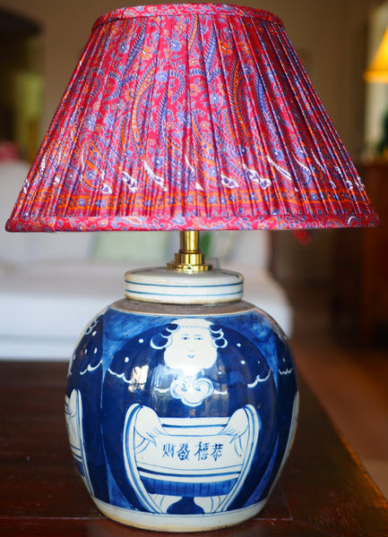 Kung hei fat choi ginger jar base with surat silk sari lamp shade
