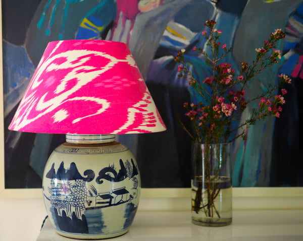 Mountain Village vintage ginger jar lamp base with fuchsia ikat shade