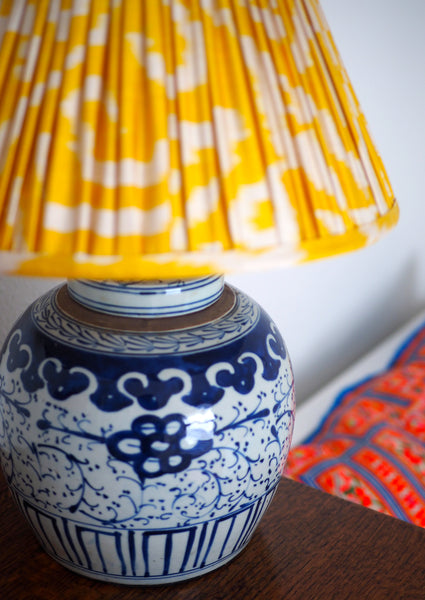 yellow silk ikat lamp shade
