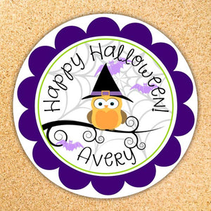 Owl Halloween Treat Bag Label / Gift Tag - Customizable - Printable