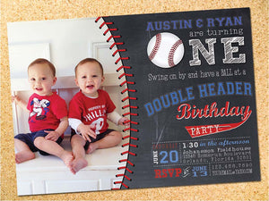 Twins Baseball Chalkboard Birthday Party Invitation - Customizable - Printable
