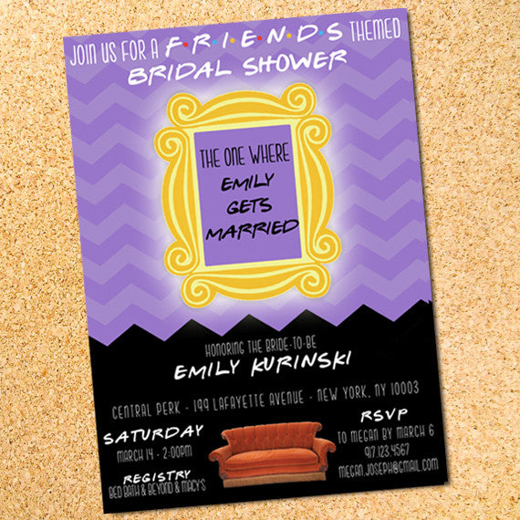 friends bridal shower or bachelorette party invitation customizable printable