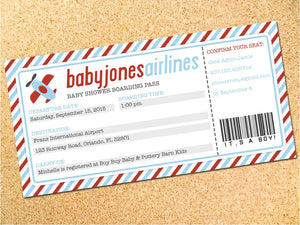 Airplane Ticket Baby Shower Invitation - Customizable - Printable