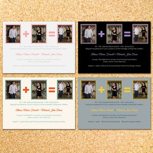 1 + 1 = 2 Photo Wedding Invitation - Customizable - Printable