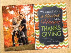 Chevron & Chalkboard Thanksgiving Photo Card - Customizable - Printable