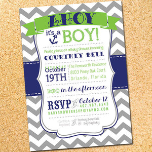Ahoy! It's a Boy! Baby Shower Invitation - Customizable - Printable