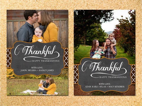 Vintage Chalkboard Thanksgiving Photo Card - Customizable - Printable