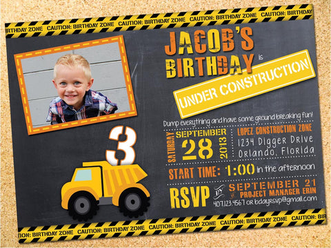 Birthday Invitations Owen Sally Designs – Digger Party Invitations