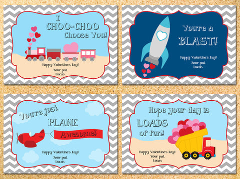 Planes, Trains & Automobiles Personalized Valentine's Day Cards - Printable DIY