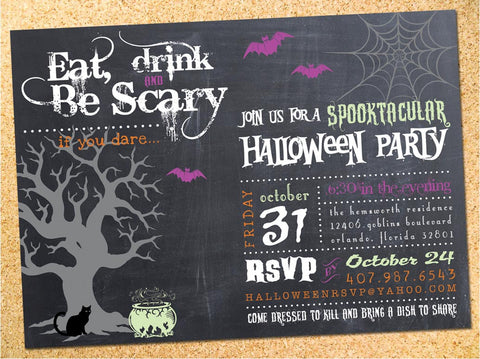 Eat, Drink & Be Scary Halloween Party Invitation - Customizable - Printable