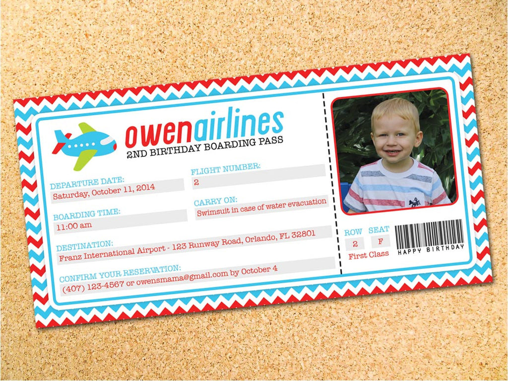 Airplane Ticket Birthday Party Invitation - Customizable - Printable