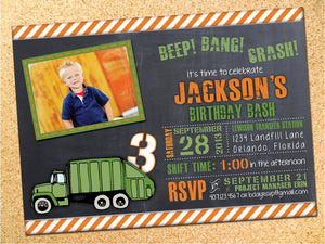 Garbage Truck Birthday Party Invitation - Customizable - Printable