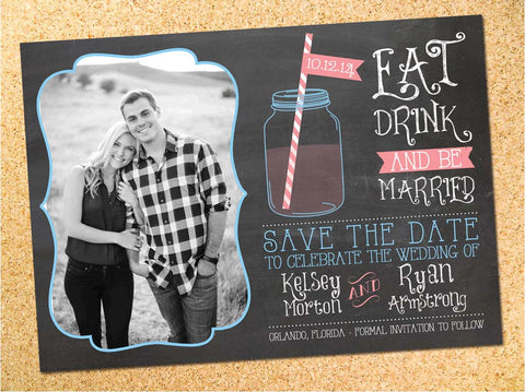 Rustic Mason Jar Chalkboard Save the Date - Customizable - DIY - Printable