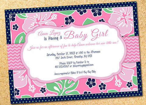 Luau Hibiscus Baby Shower Invitation - Customizable - Printable