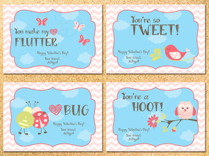 Birds & Butterflies Personalized Valentine's Day Cards - Printable DIY