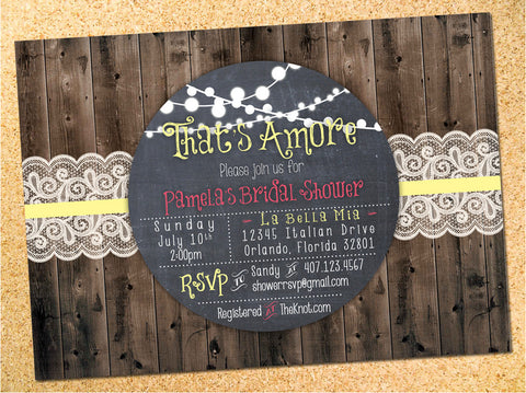 Rustic Lights & Lace Bridal Shower Invitation - Customizable - Printable