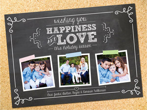 Chalkboard Happiness & Love Holiday Photo Card - Customizable - Printable