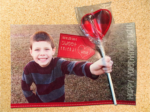Valentine's Day Lollipop Photo Treat Card Label - Photo Card - Customizable - Printable
